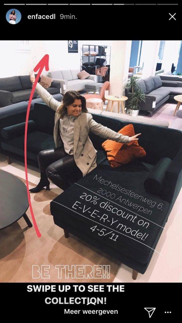 Instastory voorbeeld Sofacompany